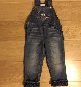 Утепленные джинсы на 2-3года с флисом внутри