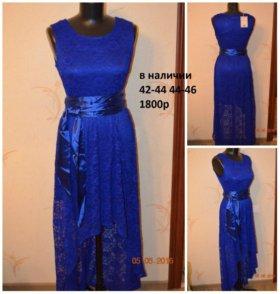 синие гипюровое платье новое