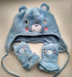 Комплект шапка и варежки на малыша mothercare