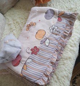 Бортики на кроватку с кармашками
