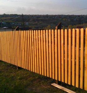 Забор из штакетника зазор 5 см h= 2,0 м ДШ 001 НО