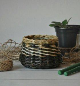 Плетеный горшочек для цветов ( кашпо)