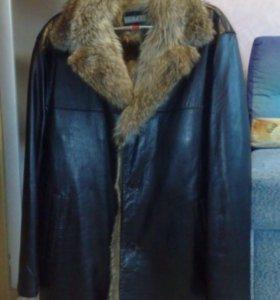 Кожаное пальто на меху новое!