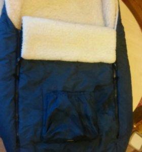 Конверт из натур. меха для ребенка в коляску