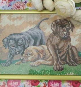 """Картина крестиком """"три щенка"""""""