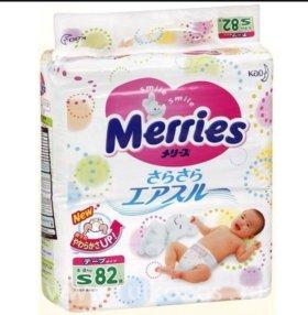 Подгузники Merries S 82 штуки