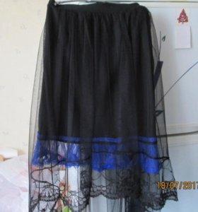 Юбка из чёрной сетки с оборкой на резинке