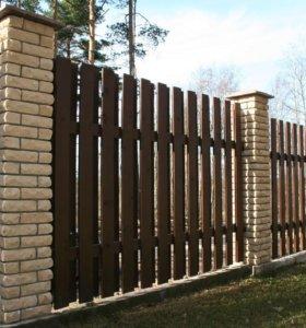 Забор из штакетника зазор 6 см h= 1,5 м ДШ 009 О