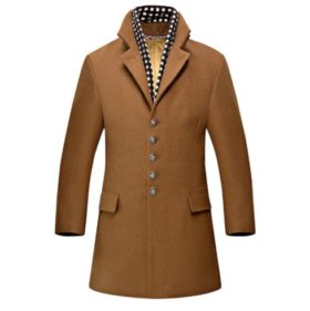 Пальто мужское зимнее с шарфом коричневое