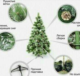 Пушистые искуственные елки с шишками