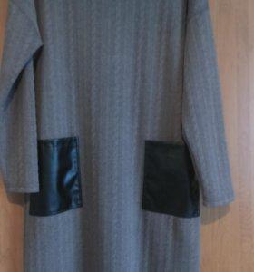 Новое трикотажное платье, размер 56
