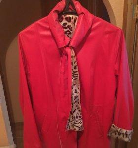 Куртка женская осенняя кожа-шёлк
