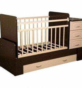 Детская кроватка трансформер с матрасом