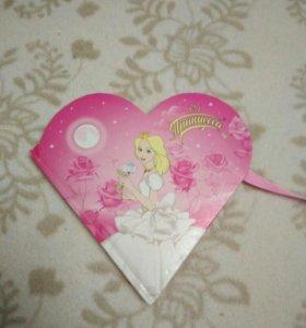 Блокнот, сердечко с принцессой.