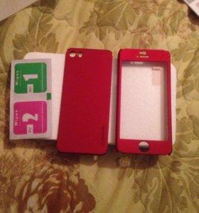 Защитное стекло и бампер для айфон 5 s