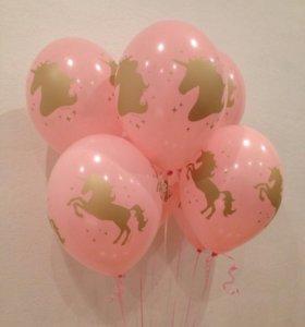 Воздушные шары шарики с единорогами