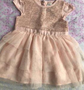 Нарядное платье для девочки 9-12 мес