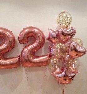 Букет шаров в цвете розовое золото