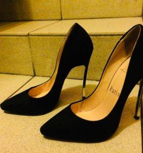 Туфли черные лодочки замш размер 35
