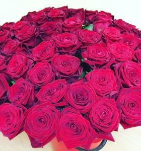 Цветы 101 роза красные розы