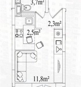 Квартира, студия, 22 м²