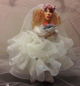 Кукла ручной работы, свадебная кукла невесты