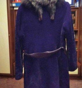 Шуба мутон,воротник чернобурка