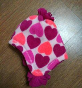Новая шапка флисовая на девочку до 1.6 лет