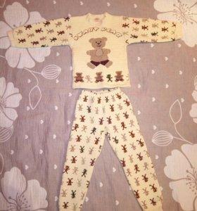 Пижама 4 - 5 лет теплая хлопок