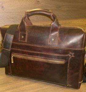 Мужская кожаная сумка ручной работы