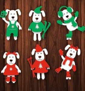 Елочные новогодние игрушки из дерева