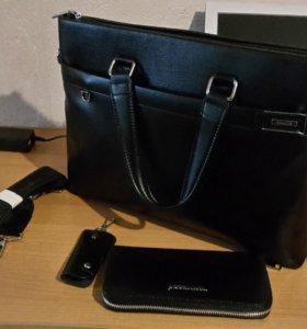 Мужская сумка ( эко кожа )+ кошелёк + брелок