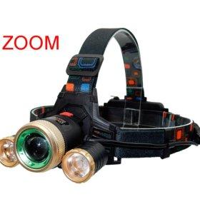 Налобный фонарь HL-T19 с ZOOM-ом