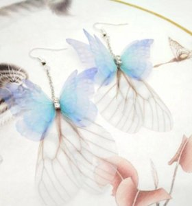 Серьги Бабочки бижутерия
