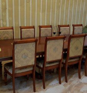 Большой обеденный стол с12 стульями