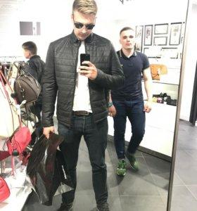 Мужская демисезонная кожаная куртка herrmann