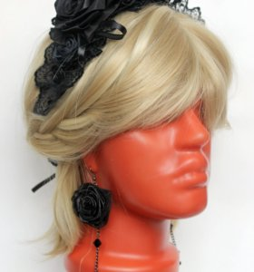 Комплект ободок+серьги, черные розы