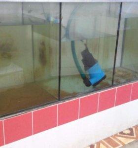 аквариум трехсекционный для рыбы/раков