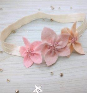 Повязка ободок с цветами