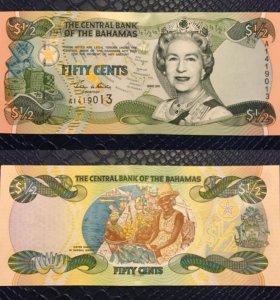Банкнота 50 центов, Багамские острова, 2001г, UNC