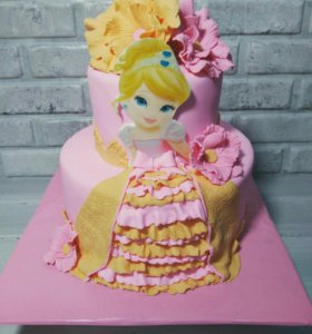 Торт принцесса с цветами