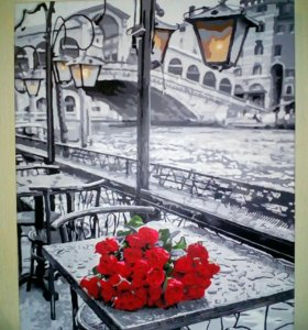 """Картина """"Розы под дождем"""" размером 40х50 см"""