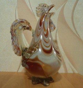 Графин СССР Петух (кувшин) цветное стекло
