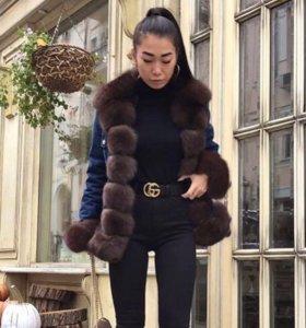 Джинсовая куртка с финским песцом, Люкс качество