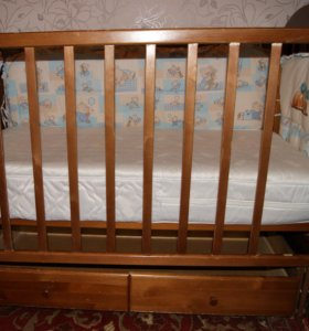 Кроватка+матрас+бортики