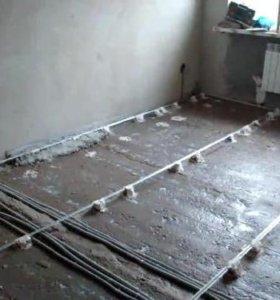 Полусухая стяжка пола Германский бетононасосом Пол