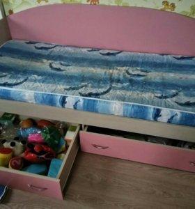 Кровать 80*190. Каркас с ящиками.