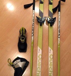 Лыжи, лыжные ботинки, палки, чехол