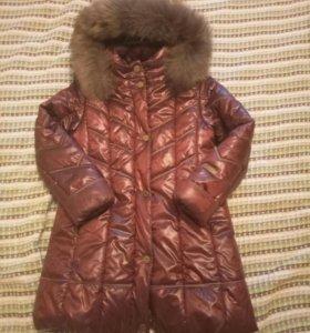 Пальто зимнее для девочки 8-10 лет