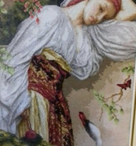 """Картина. Вышивка """"Девушка с лебедем"""""""